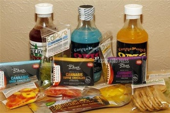 Edible marijuana products are pictured on display at a medical marijuana dispensary in Denver on Friday, April 18, 2014.