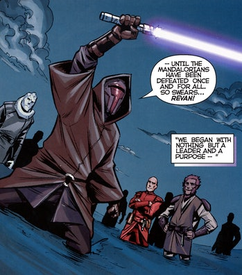 Revan dons a Mandalorian mask and vows to win the war.