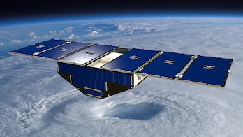 CYGNSS satellite above a hurricane.