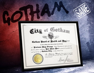 Arkham Asylum Certificate of SANITY w/ YOUR name
