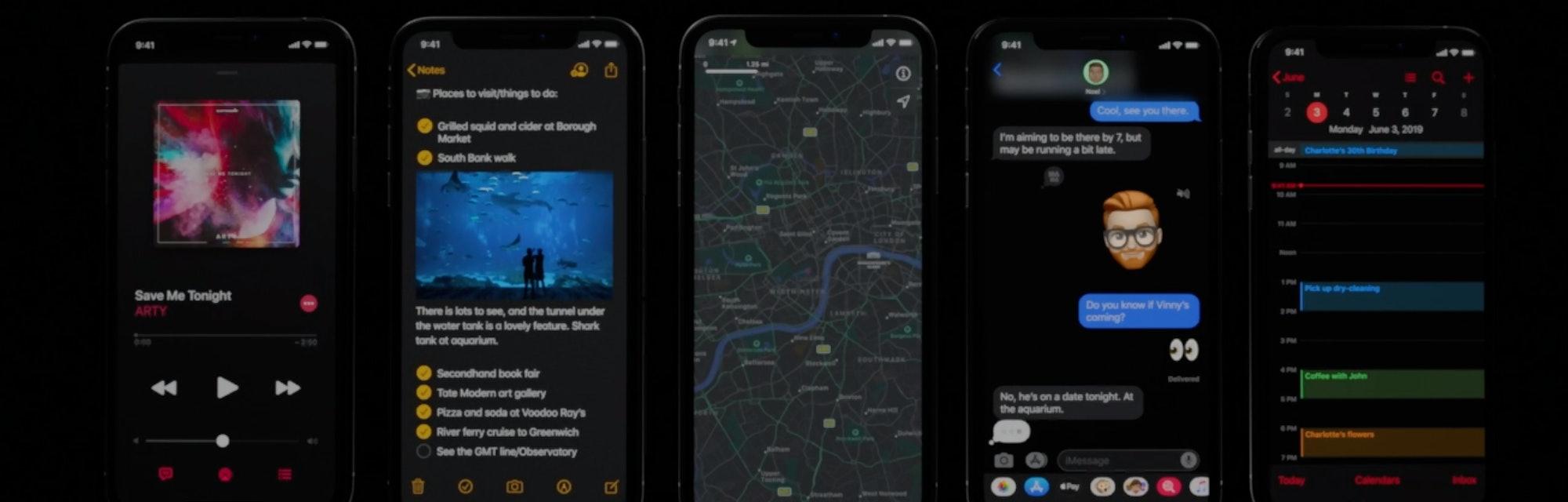 iphone apps in dark mode