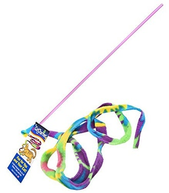 CAT DANCER Cat Toy Cat Charmer Safe Wand Teaser Colorful Fabric Ribbon Safe Flexible Exercise Toy