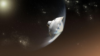 Artist's concept of the Mars Science Laboratory entry into the Martian atmosphere
