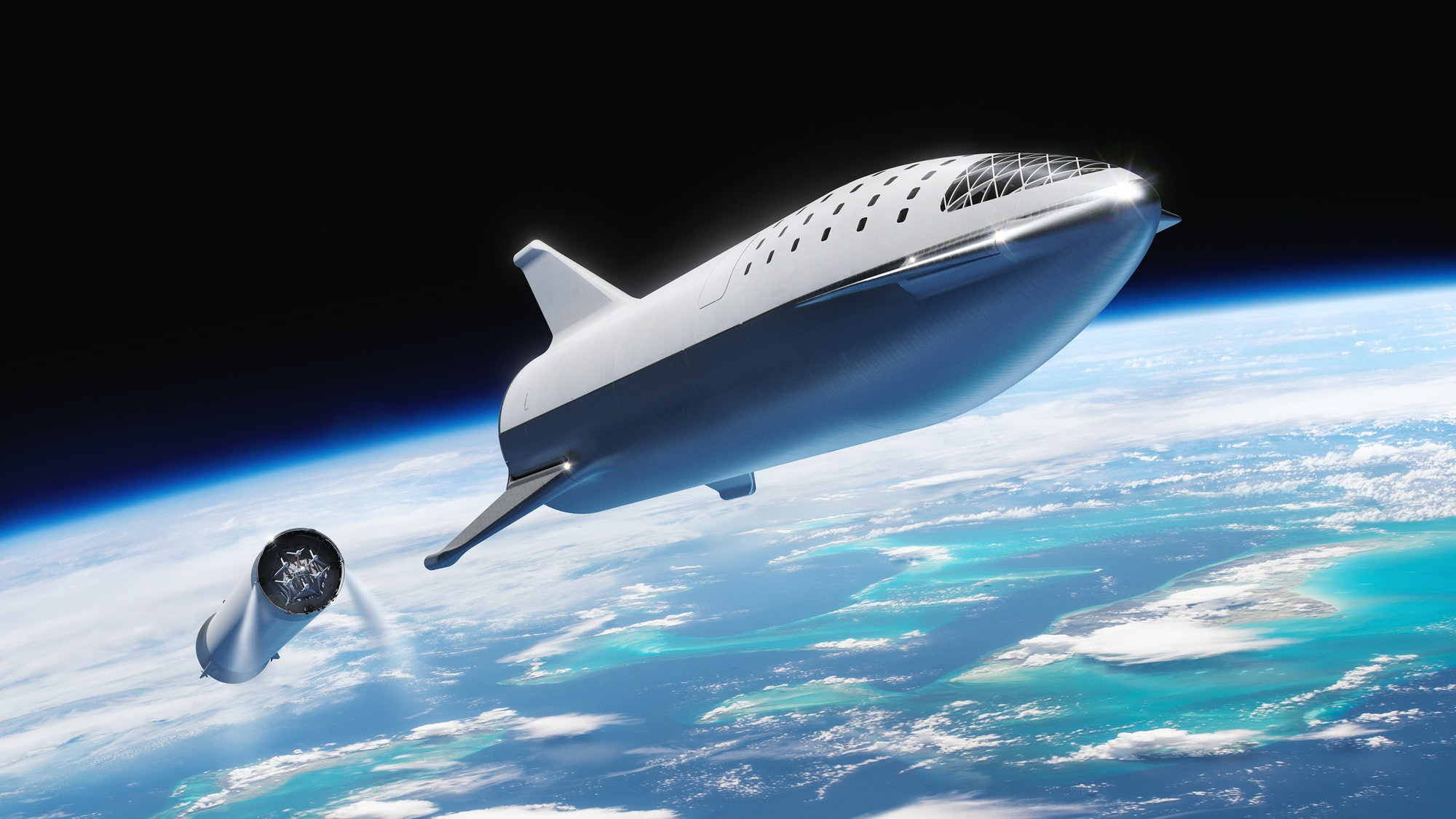 In this artist's image released by SpaceX in September 2018, the BFR -- now known as Starship -- separates from its first rocket stage above Earth. Tuesday marked the test flight of the Starhopper test article.