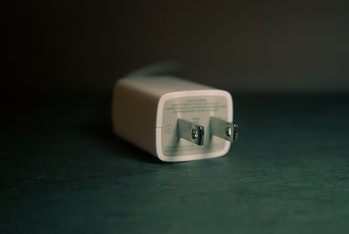 An iPhone charging plug.