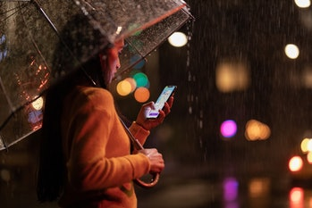 iPhone XS in rain.