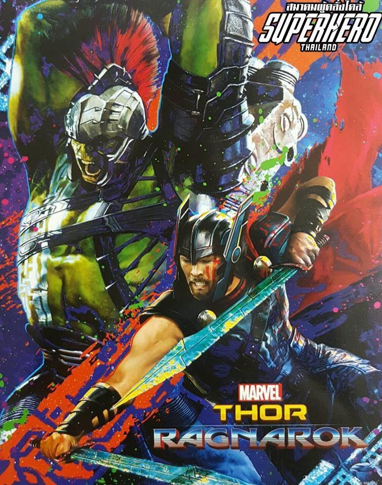 Thor and Hulk as they appear in the Thai poster for 'Ragnarok'.