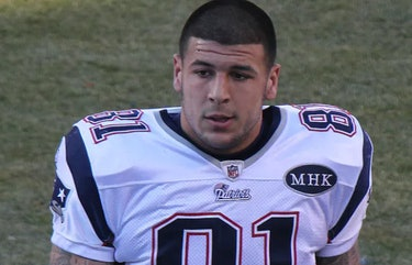 Aaron Hernandez in 2011. The NFL player suffered from extreme CTE, brain scans confirmed after his suicide.