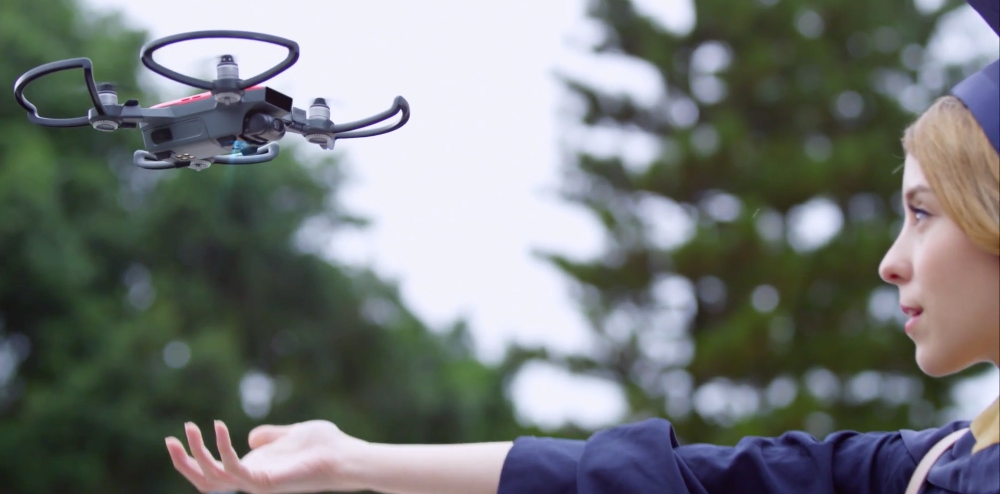 A promotional video for the DJI Spark shows a recent graduate launching the drone.