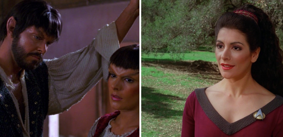 """RIGHT: Riker and Troi disguised asMintakans in 'Who Watches the Watchers"""" (1989). LEFT: Troi as she appeared in most episodes of 'The Next Generation.'"""