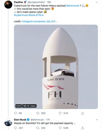 Elon Musk weighs in on the Cybertruck in space.