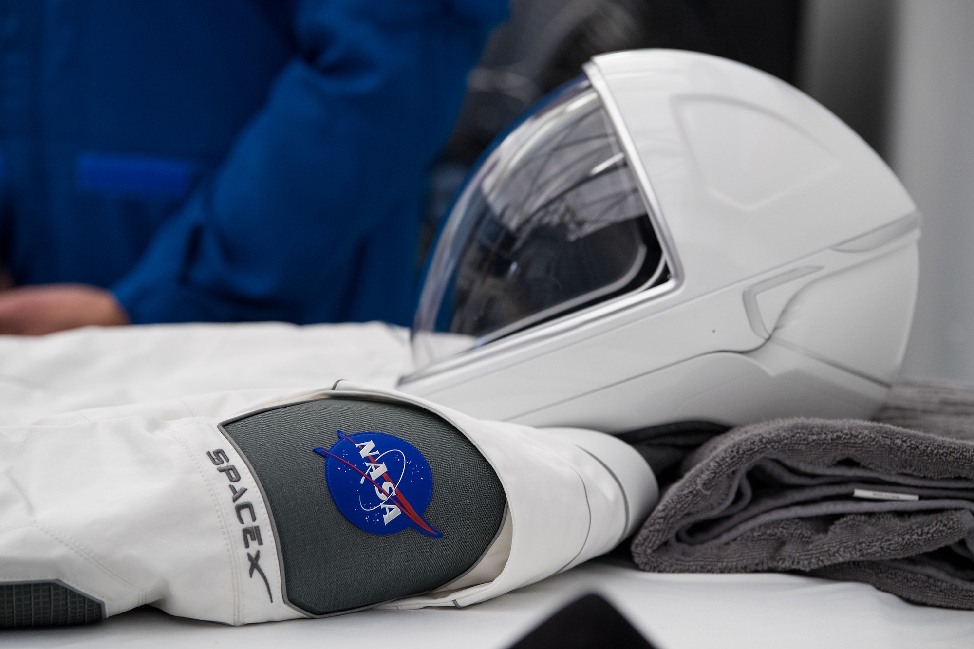 """The """"Demo-2"""" suit up close."""