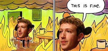 mark zuckerberg this is fine meme