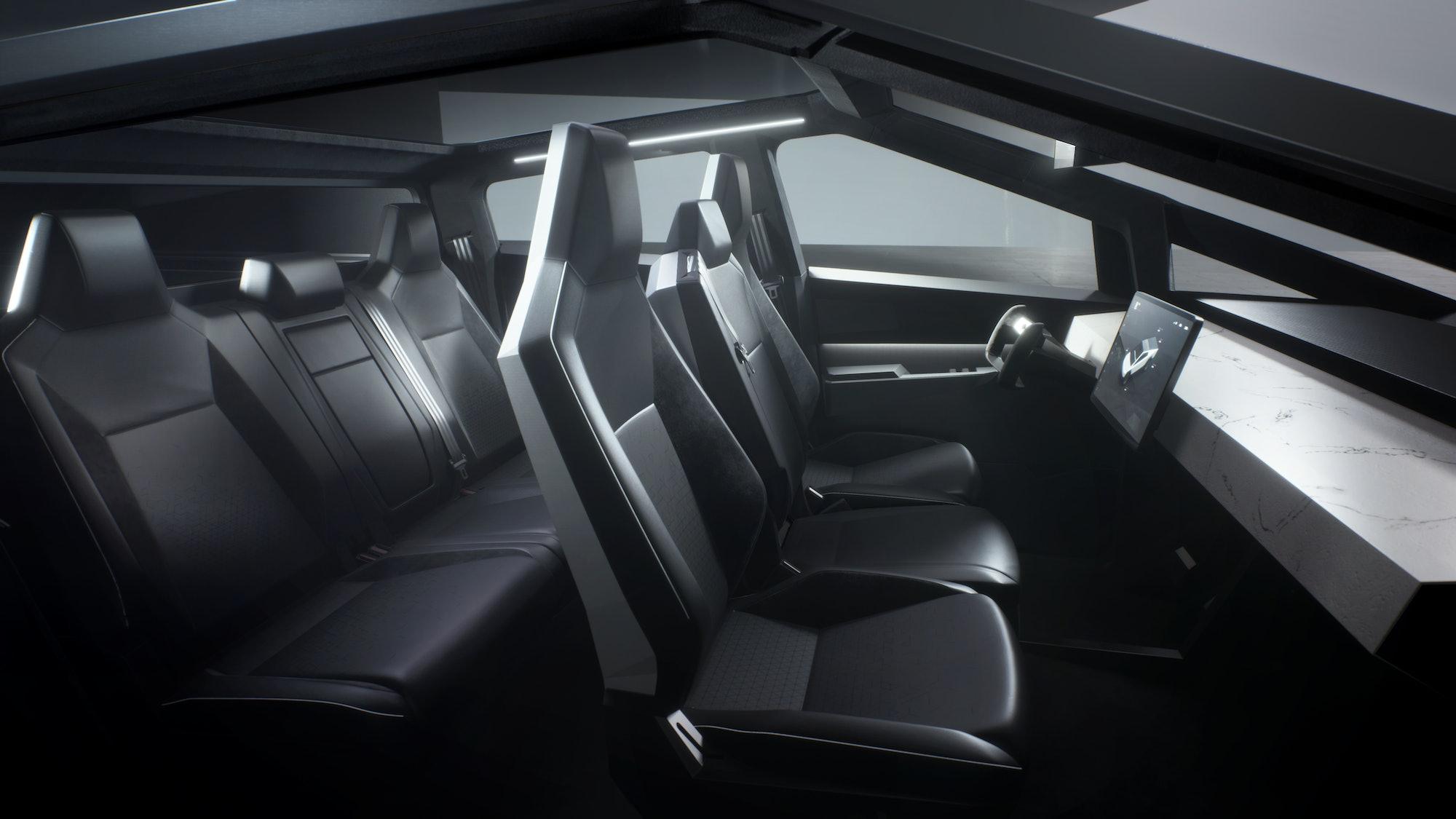 Tesla Cybertruck interior.