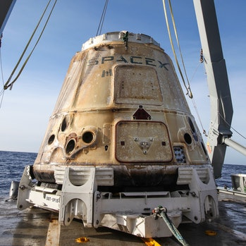 The SpaceX Dragon capsule on Saturday, January 13, 2018 on a ship in the Pacific Ocean, filled with with approximately 4,100 pounds of NASA cargo, science and technology demonstration samples from the International Space Station. It was used in the CRS-6 Mission.