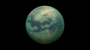 Titan, as photographed by the Cassini–Huygens mission in 2005.