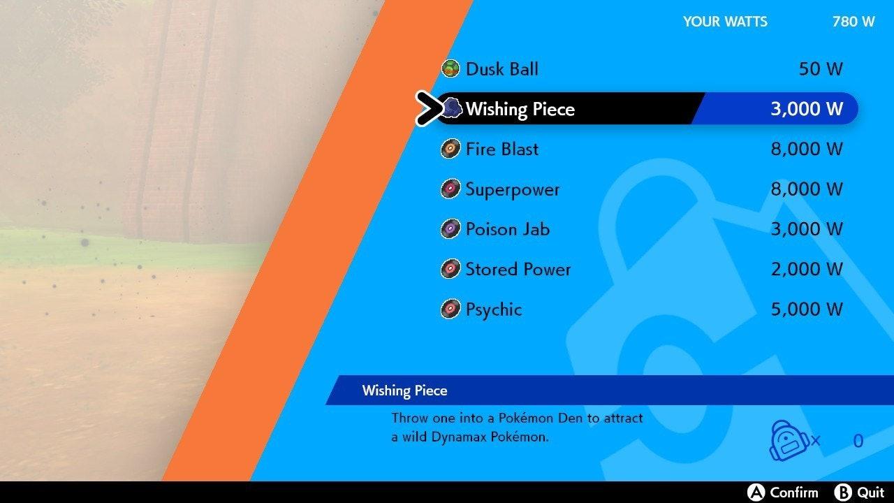 Purchasing a wishing piece Pokemon Sword and Shield