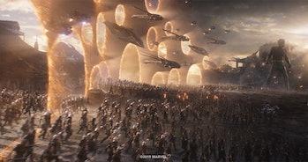 All of the Avengers assembling in 'Avengers: Endgame'
