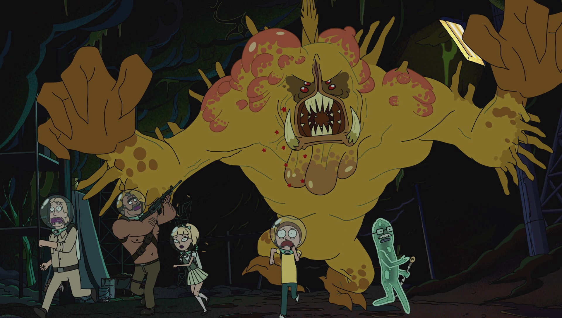 Generic Scientist, Angry Gun-Toting Soldier, Cute Damsel, Morty, and Dr. Xenon Bloom get chased by a forgettable booger monster.