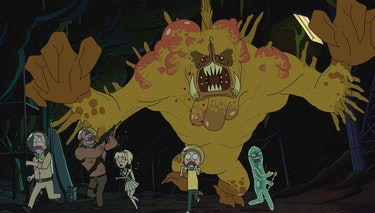 Generic Scientist, Angry Gun-Toting Soldier, Cute Damsel, Morty, and Dr. Xenon Bloom get chased by a...