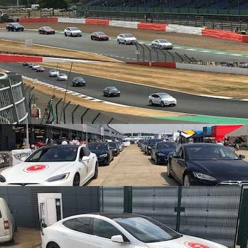 Teslas take to the track.