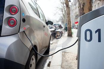 An electric car charging.