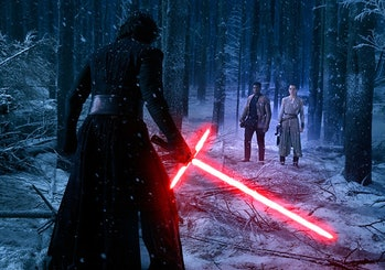 Adam Driver, Daisy Ridley, John Boyega in 'Star Wars: The Force Awakens'