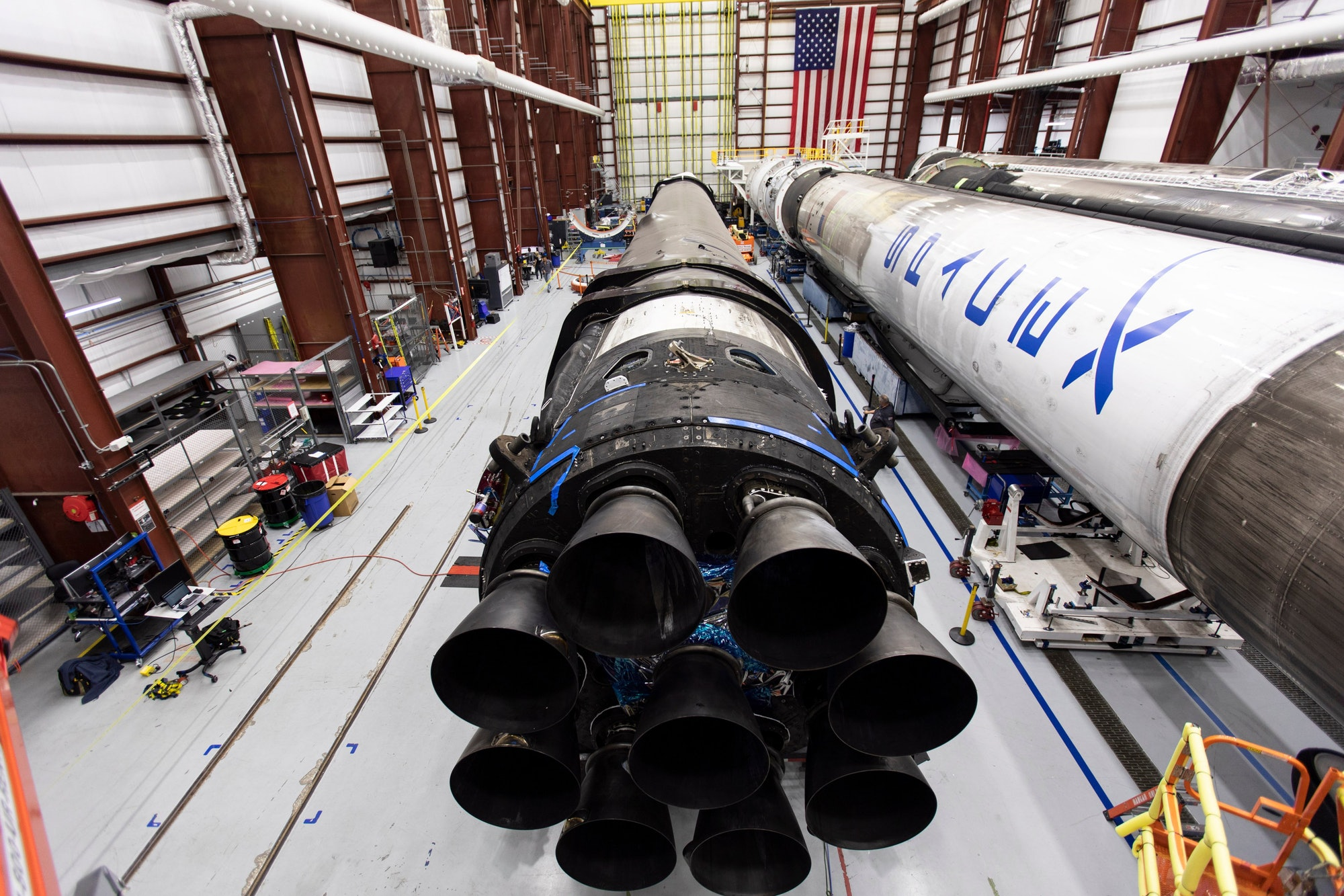 The Falcon 9 lying flat.