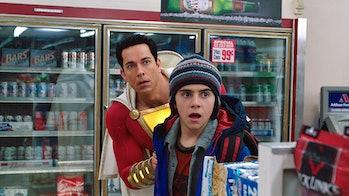Freddy (Jack Dylan Grazer) and Shazam (Zachary Levi) in convenience store scene in 'Shazam!'