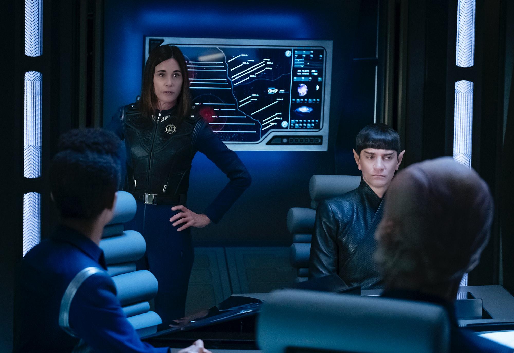 Admiral Cornwell and Sarek talk strategy.