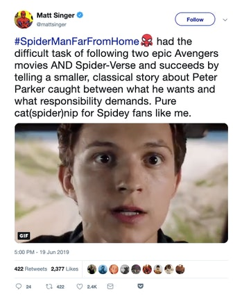 matt singer spider-man far from home twitter