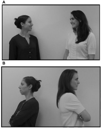 Babies noticed when videos of people acting like friends (A) or strangers (B) didn't match up with t...