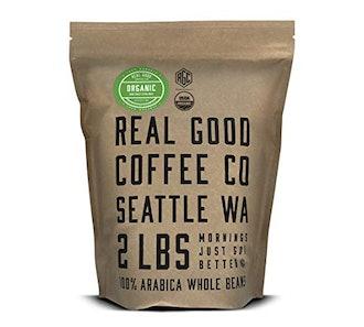 Real Good Coffee Co Organic Dark Roast Whole Bean Coffee, 2 Pounds