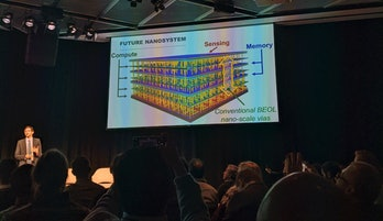 MIT Professor, Max Shulaker, presents his team's work in building carbon nanotube-based microprocessors during day one of MIT Technology Review's Future Compute conference in Cambridge, Massachusetts.