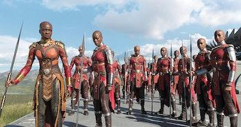 Okoye (Danai Gurira) during a battle scene in Disney/Marvel's 'Black Panther'