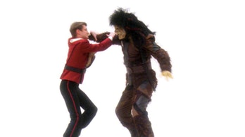 Young  Jean-Luc Picard fights a Nausicaan in 'Tapestry.' (1993)