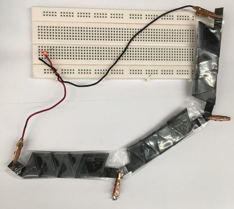 A group of folded batteries can power a paper-based electronic device.