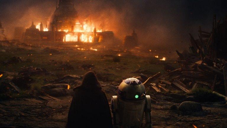 Luke's Jedi school burns in 'The Last Jedi'