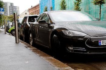A Tesla Model S parked in Oslo.