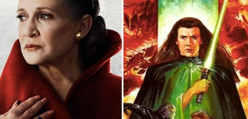 Left: Leia in 'The Last Jedi.' Right: Leia with a green lightsaber in the 'Dark Empire' comics.