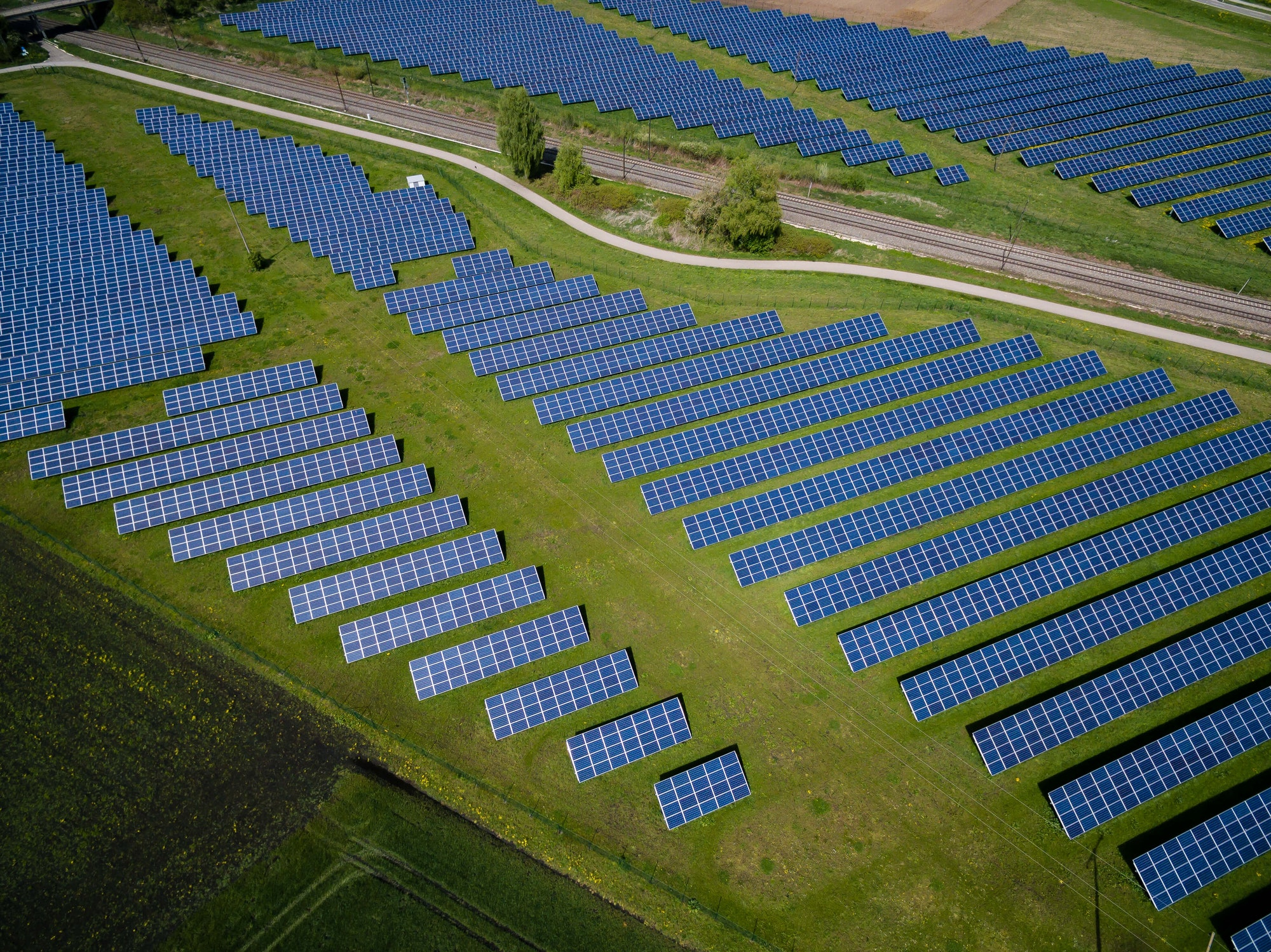 Solar panels across a field.