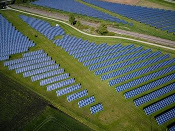 Solar panels across a field.