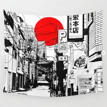 Tokyo street sunrise Wall Tapestry