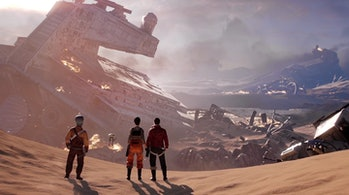 The Rebel Inferno Squad looks at the wrecking following the Battle of Jakku.