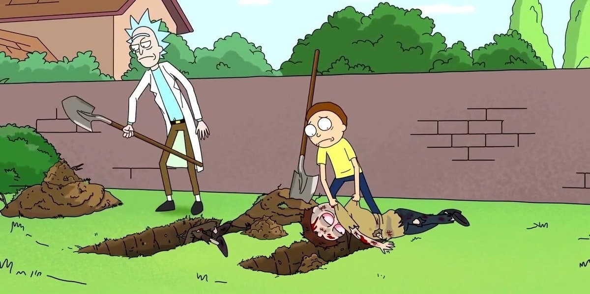 Rick and Morty bury their own bodies and take over in an alternate timeline where that's possible.