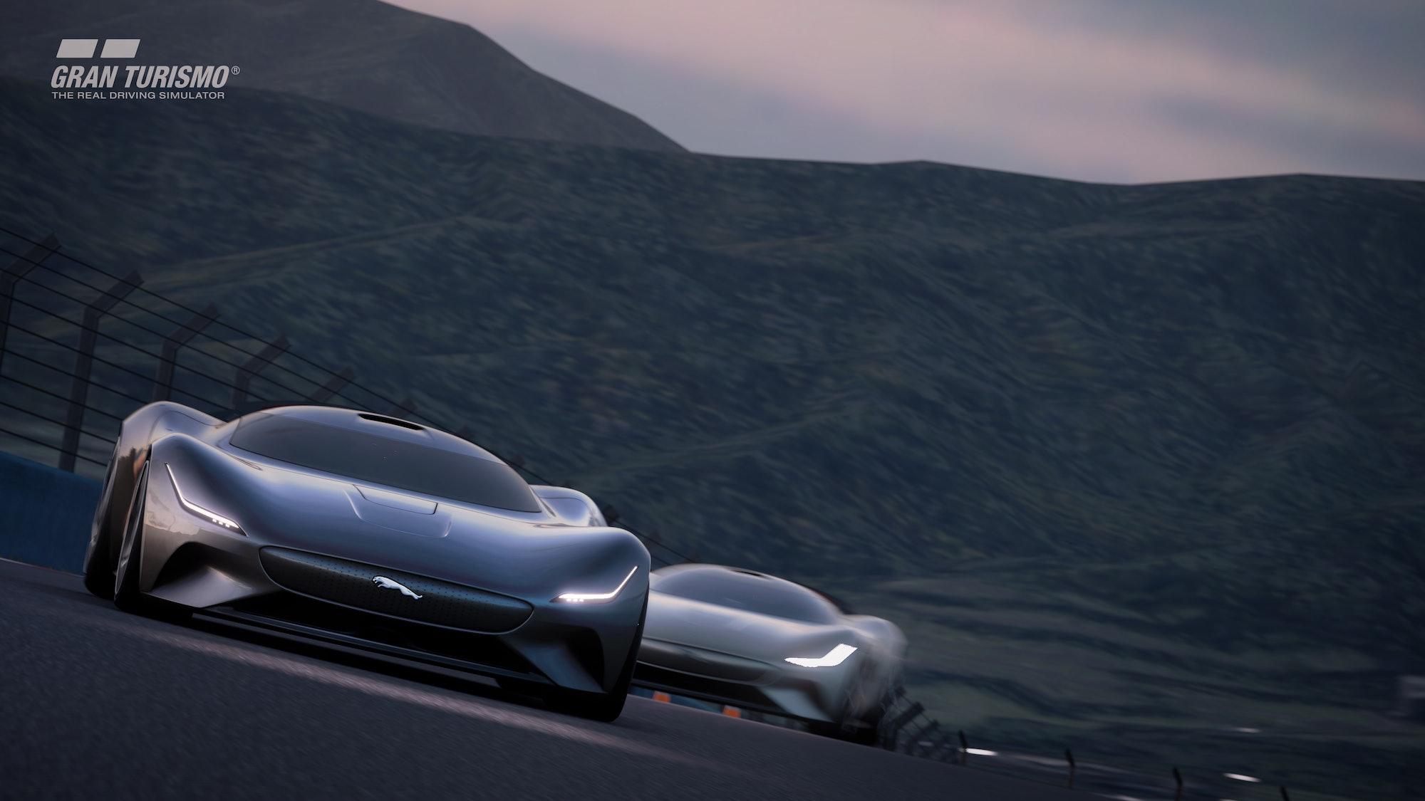 The Jaguar Vision GT Coupé in action.