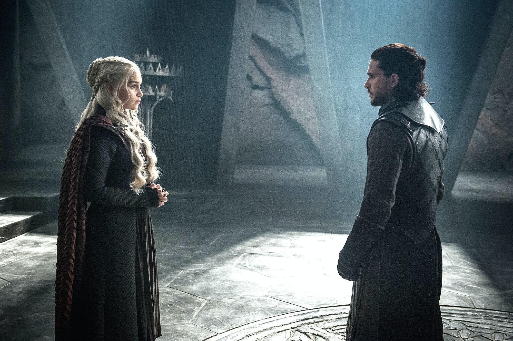 Kit Harington as Jon Snow and Emilia Clarke as Daenerys Targaryen
