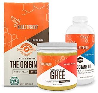 Bulletproof Starter Kit, 12oz Ground Original Roast Clean Coffee, 16oz Ketogenic MCT Brain Octane Oil made from 100% coconut, 13.5oz Grass-Fed Ghee