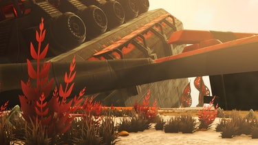At some point, huge crashed freighters were added to 'No Man's Sky' so you can explore them like Rey in 'Star Wars: The Force Awakens'. (Credit: @BAMbam757Gaming)