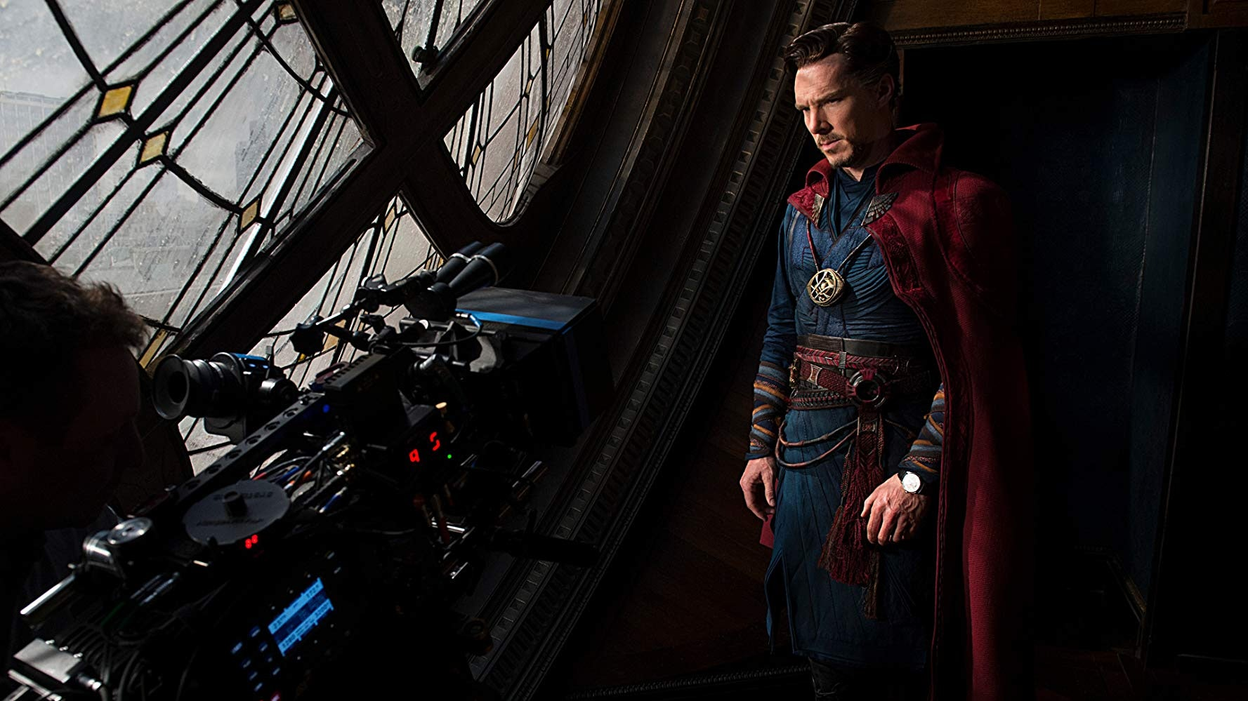 Benedict Cumberbatch in costume as Doctor Strange on the set of 'Doctor Strange'